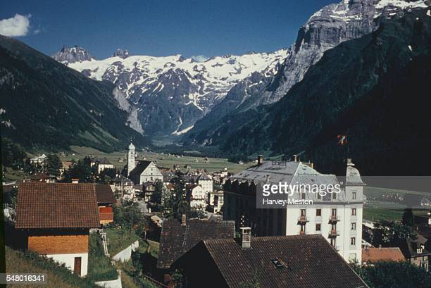 The resort town of Engelberg in Switzerland showing the Hotel Edelweiss circa 1965