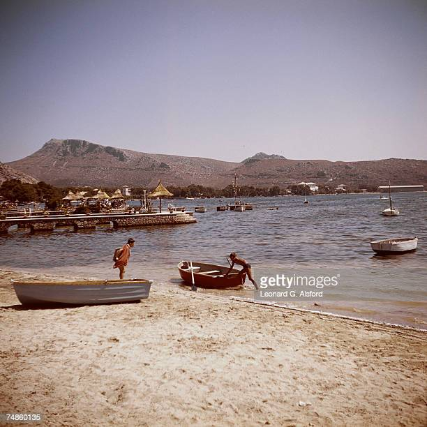 The resort town of Port de Pollenca in northeastern Majorca circa 1955