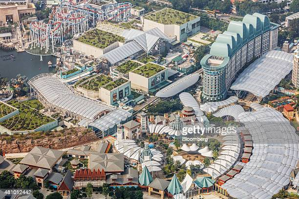 The Resorts World Sentosa integrated resort and casino complex operated by Genting Singapore Plc stands on Sentosa Island in this aerial photograph...