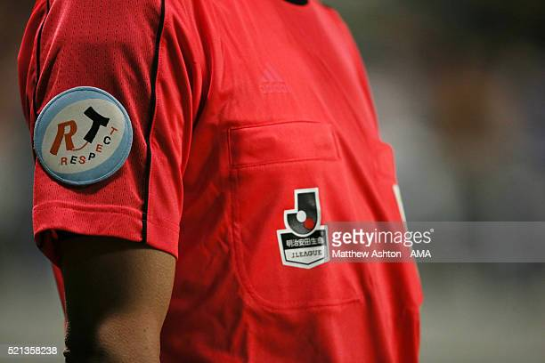 The Respect and JLeague logo on the shirt of the assistant referee during the JLeague match between Gamba Osaka and Kashiwa Reysol at the Suita City...