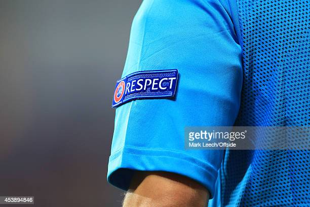 The 'Respect' badge on the sleeve of the referee's assistant seen during the UEFA Super Cup match between Real Madrid and Sevilla FC at the Cardiff...