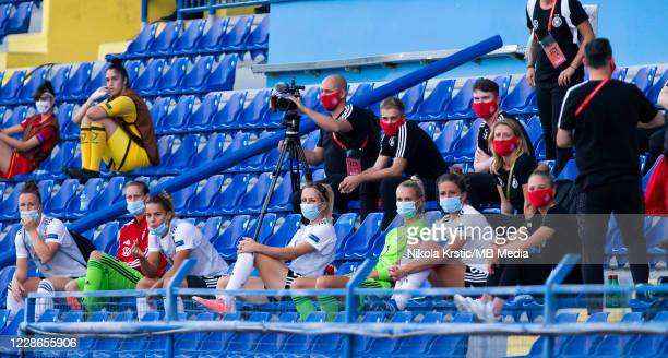 The rest of the German team watches the match from the stands due to uefa restrictions due to coronavirus during the UEFA Women's EURO 2022 Qualifier...