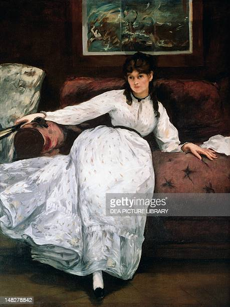 The rest or Portrait of Berthe Morisot 18691870 by Edouard Manet oil on canvas 148x111 cm Providence Rhode Island School Of Design Museum Of Art