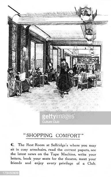 The Rest Room at Selfridge's, London. Department store on Oxford Street. Caption reads: 'Shopping comfort: The Rest Room at Selfridge's where you may...
