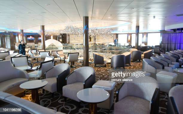 The restaraunt Atlantik on board the cruise ship MeinSchiff 3 in the port in HamburgGermany 01 June 2014 The newest cruise ship of tour operator...