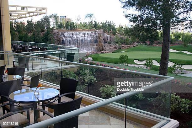 The restaurant at the Wynn golf course overlooks the 18th green at developer Steve Wynn's 27 billion dollar resort Wynn Las Vegas on April 29 2005 in...