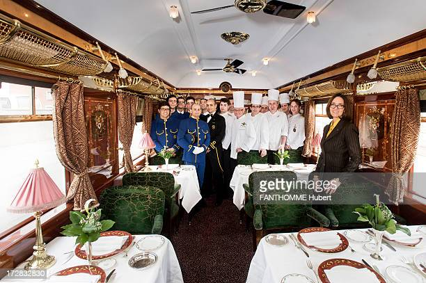 The restaurant wagon staff and the chef Christian Bodiguel on the Venice Simplon Orient Express train on February 28 2013 at the Gare De L'Est...