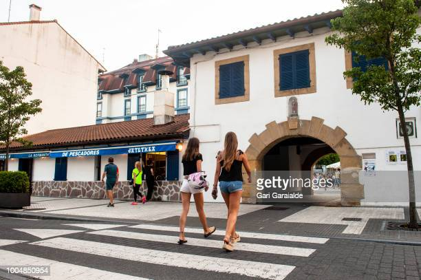 The Restaurante Hermandad de Pescadores is located in the lower part of what was once the guild of the fishermen on July 24 2018 in Hondarribia Spain...