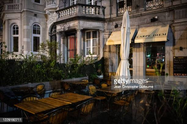 The restaurants of the rue des celtes in Etterbeek are closed for a month on October 20, 2020 in Brussels, Belgium. Bars and restaurants in Brussels...
