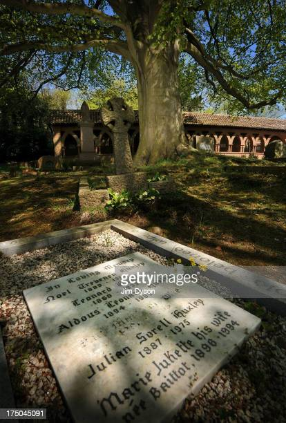 The resting place of writer Aldous Huxley in Compton Village Cemetery on May 3 2013 in Compton England Dead Famous London is a journey through the...
