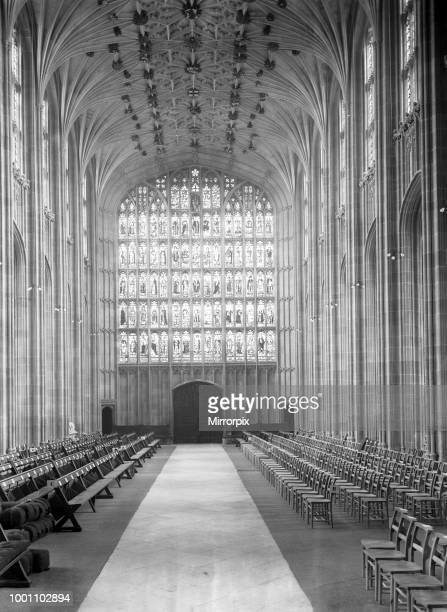 The restoration of St George's Chapel, Windsor Castle, circa 1930.