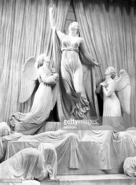 The restoration of St George's Chapel, Windsor Castle. The Princess Charlotte statue. Picture published in the Daily Mirror on the 3rd November 1930.
