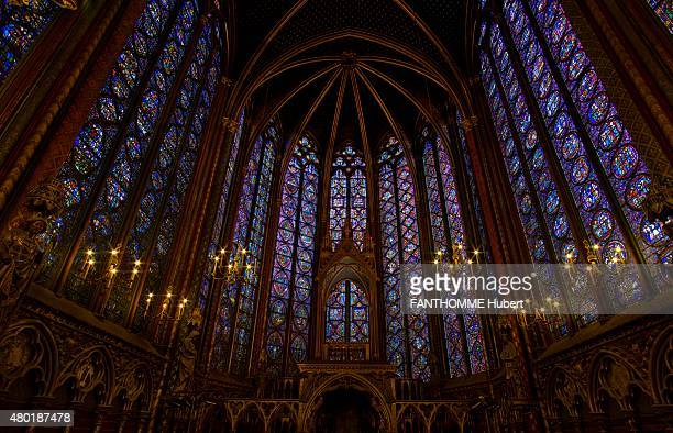 the restoration of the stained glasses of the Sainte Chapelle in Paris on December 28 2010 Photo by Hubert Fanthomme/ Paris Match via Getty Images