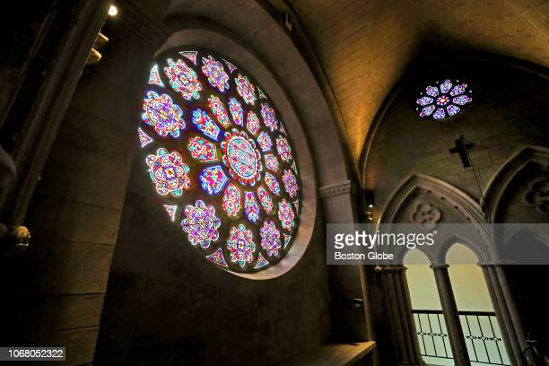 The restored 1845 Great Rose Window over the entrance to the Bigelow Chapel at Mount Auburn Cemetery in Cambridge MA is pictured on Nov 28 2018...