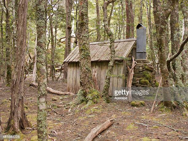 The restored Haberle's Hut built around 1931 during the Great Depression by hardy trappers supplying the skin trade Great Western Tiers northern...