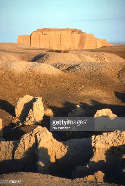 The restored mud brick ziggurat off Ur of the Chaldees founded in 3800 BC stands in the desert near Nasiriyah in Southern Iraq circa 1978;