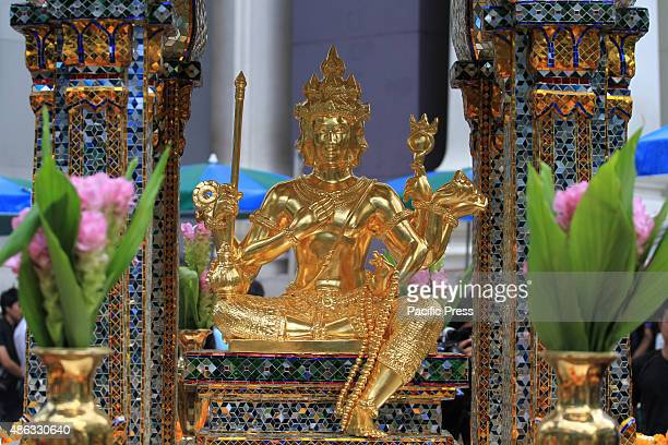 The restored statue of Lord Brahma after the craftsmen from the Thai Fine Arts Department repaired the Erawan Shrine in Ratchaprasong.