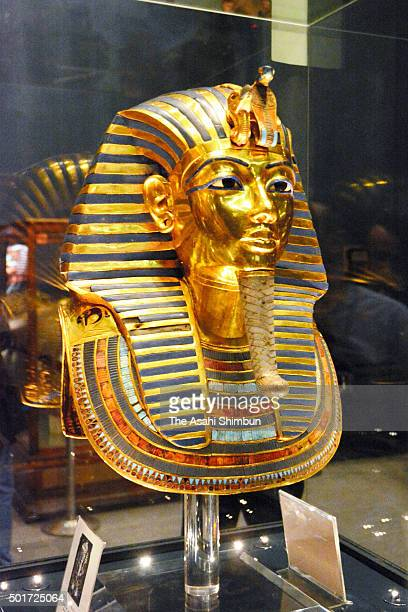 The restored Tutankhamun gold mask is reexhibited at the Egyptian Museum on December 16 2015 in Egypt Cairo