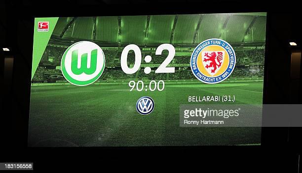 The result is seen on a video screen after the Bundesliga match between VfL Wolfsburg and Eintracht Braunschweig at Volkswagen Arena on October 05...