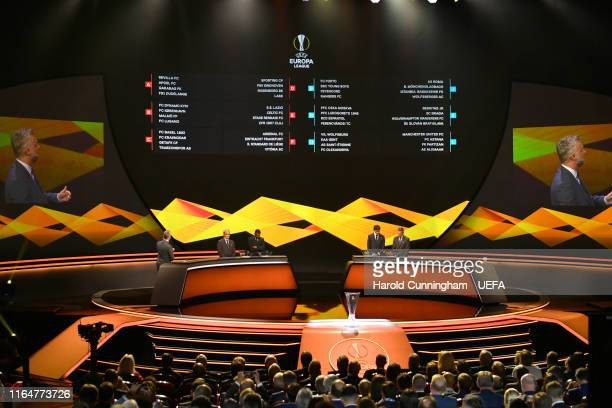 The result of the darw is displayed after the UEFA Europa League 2019/20 Group Stage Draw part of the UEFA European Club Football Season KickOff...