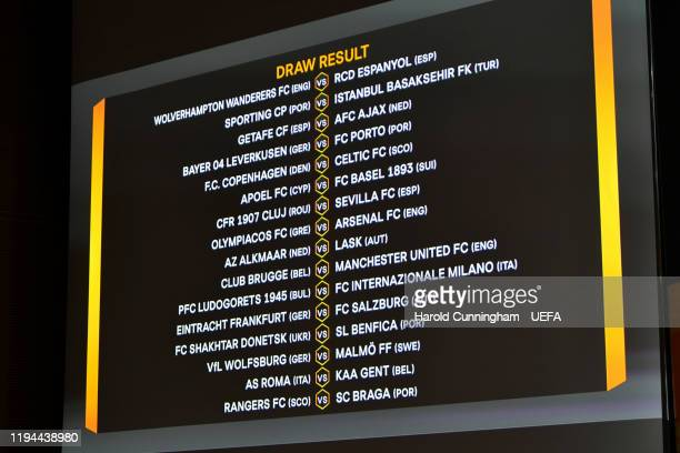 The result of the UEFA Europa League 2019/20 Round of 32 Draw at the UEFA headquarters, The House of European Football on December 16 2019 in Nyon,...