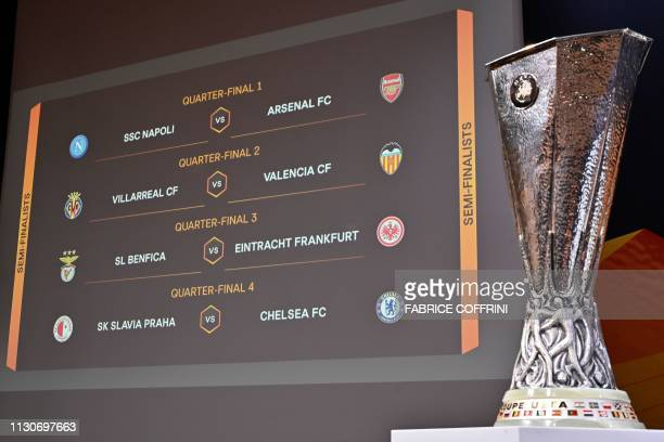 The result of the UEFA Europa league quarterfinals draw is displayed on a screen on March 15 2019 in Nyon