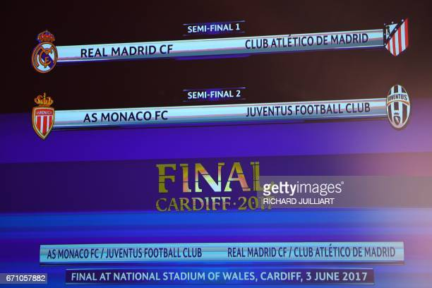 TOPSHOT The result of the UEFA football Champion's league draw semifinals is displayed on a screen on April 21 2017 in Nyon / AFP PHOTO / Richard...