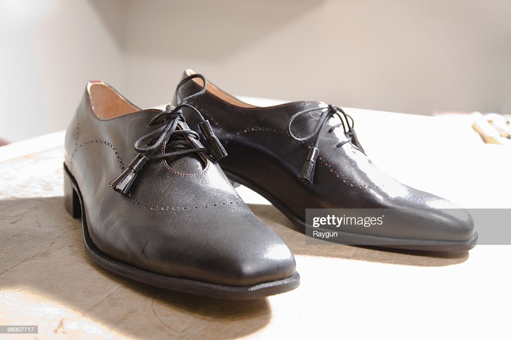 The result of works effort on shoes : Stock Photo
