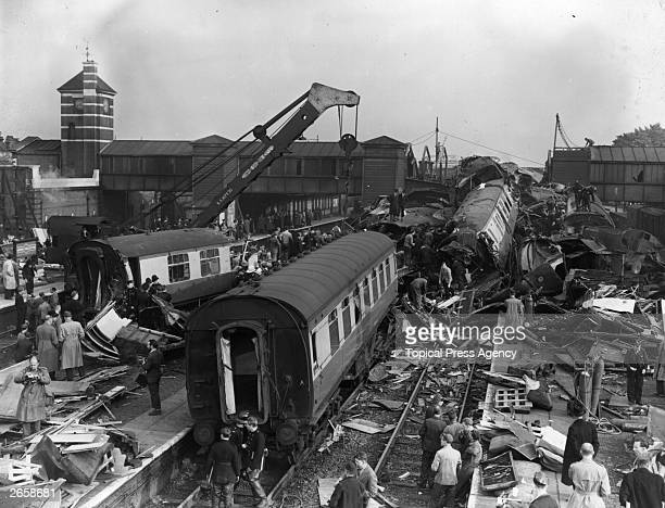 The resultant wreckage left after three trains collided at Harrow and Wealdstone station