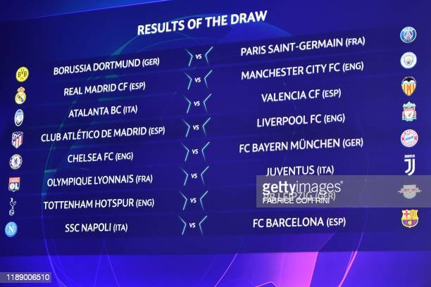 The results are displayed on a screen at the end of the UEFA Champions League football cup round of 16 draw ceremony on December 16 2019 in Nyon