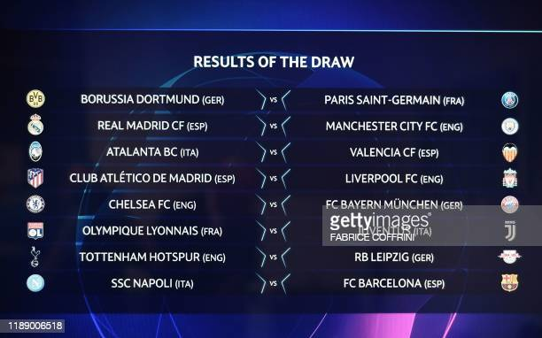 The results are displayed on a screen at the end of the UEFA Champions League football cup round of 16 draw ceremony on December 16, 2019 in Nyon.