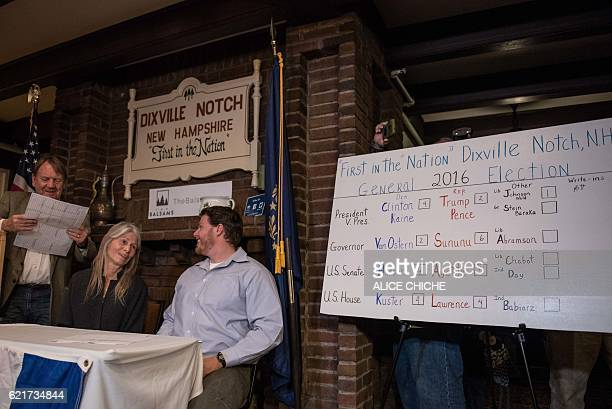 The results are displayed on the blackboard at a polling station just after midnight on November 8 2016 in Dixville Notch New Hampshire the first...