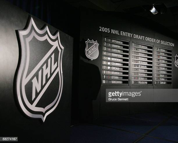 The results board at the NHL draft lottery held at the Sheraton New York Hotel and Towers on July 22 2005 in New York City