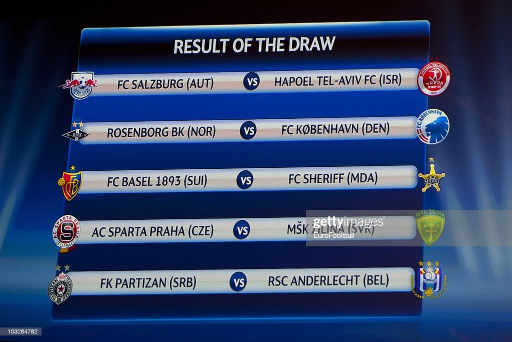 The results of the draw for the play-off of the UEFA Champions League is displayed on August 6, 2010 in Nyon, Switzerland. The play-offs are played over two legs on 17/18 and 24/25 August. The ten play-off winners will join the 22 automatic entrants in the UEFA Champions League group stage, the draw for which will be held in Monaco on 26 August 26, 2010.