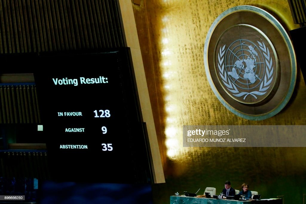 TOPSHOT - The results of the vote on Jerusalem are seen on a display board at the General Assembly hall, on December 21, 2017, at UN Headquarters in New York. UN member-states were poised to vote on a motion rejecting US recognition of Jerusalem as Israel's capital, after President Donald Trump threatened to cut funding to countries that back the measure. /