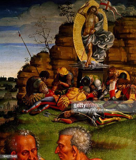 The Resurrection by Luca Signorelli painting Detail Cortona Museo Diocesano