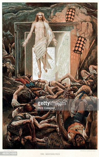 The Resurrection c1890 Christ rising from the tomb after the Angel of the Lord has rolled away the stone His countenance was like lightning and his...
