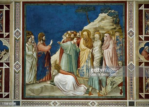 The Resurrection of Lazarus by Giotto detail from the cycle of frescoes Life and Passion of Christ 13031305 after the restoration in 2002 Scrovegni...