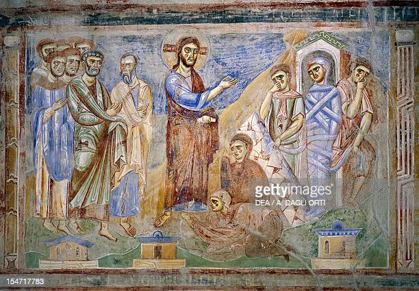 The Resurrection of Lazarus detail from the Stories of the New Testament 10721078 ByzantineCampanian school frescoes right side of the nave of...