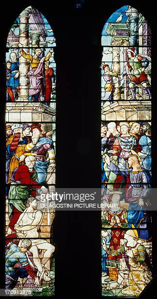 The resurrection of Lazarus stained glass window by Guillaume de Marcillat Cathedral of Arezzo Tuscany Italy