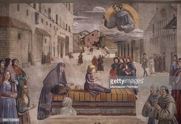 The Resurrection of the Boy by Domenico Ghirlandaio 14821486 15th Century fresco Italy Tuscany Florence Church of Santa Trinita Sassetti Chapel...