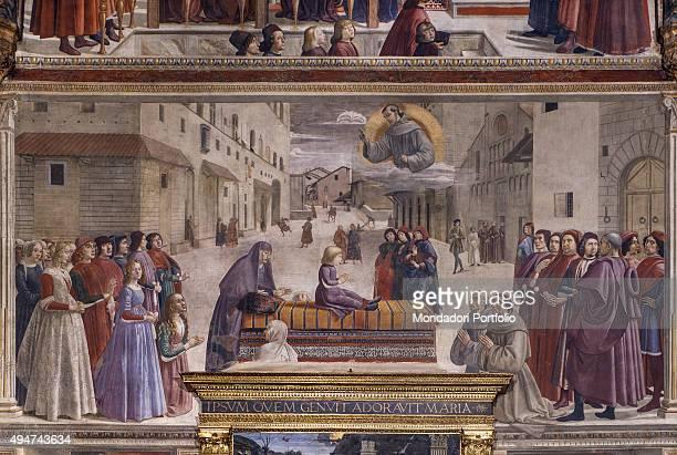 The Resurrection of the Boy by Domenico Ghirlandaio 14821486 15th Century fresco Italy Tuscany Florence Church of Santa Trinita Sassetti Chapel Whole...