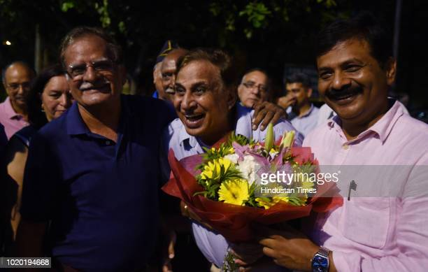 The retired Colonel Virendra Pratap Singh Chauhan being welcomed by the residents of Arun Vihar after being released from jail on August 20 2018 in...