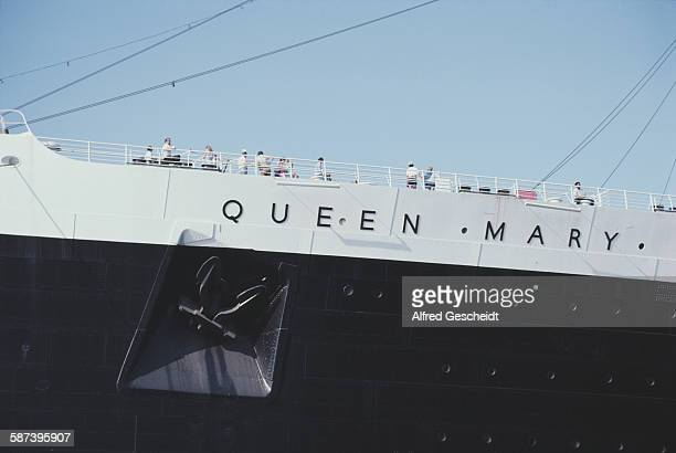 The retired Cunard Line ocean liner 'RMS Queen Mary' moored at Long Beach California 1984