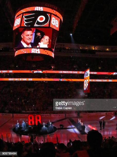 The retired number banner is pictured rising to the rafters during the Jersey Retirement Night ceremony of NHL Hall of Famer and former Philadelphia...