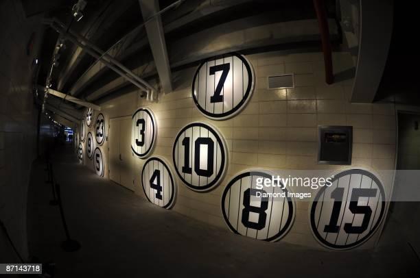 The retired number emblems for catcher Elston Howard infielder/manager Billy Martin outfielder Roger Maris outfielder Reggie Jackson outfielder Joe...