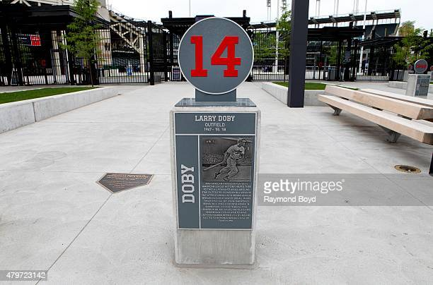 The retired number marker of former Cleveland Indians player Larry Doby sits in the plaza at Progressive Field home of the Cleveland Indians baseball...