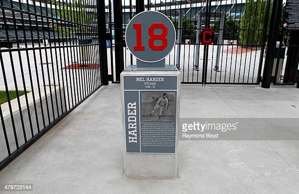 The retired number marker of former Cleveland Indians player Mel Harder sits in the plaza at Progressive Field home of the Cleveland Indians baseball...