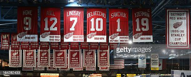 The retired numbers of former Detroit Red Wings players Gordie Howe and Sid Abel and Ted Lindsay and Alex Delvecchio and Terry Sawchuk and Steve...
