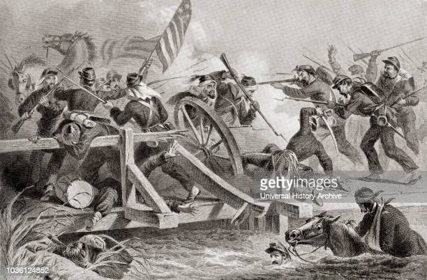 The retreat by Union Forces after the Battle of Bull Run aka the Battle of First Manassas July 21 1861 during the American Civil War From...